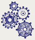 Gears doodle style vector illustration Stock Photo