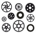 Gears group of in black and white Royalty Free Stock Images