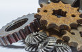 Gears a huge set of rusty metal isolated on a white background Royalty Free Stock Photo