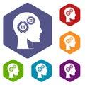 Gears in human head icons set hexagon