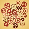 Gears with icons inside add friend bubble lock and other Royalty Free Stock Image