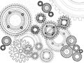 Gears mechanisms of gear teeth Stock Photos