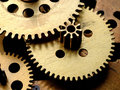 Gears in old clockwork Stock Images