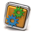 Gears on orange button Royalty Free Stock Photo