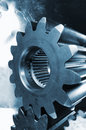 Gears in powerful wide-angle perspective Royalty Free Stock Photos