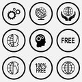 Gears, protection world, globe and array down, human brain, free Royalty Free Stock Photo