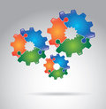 Gears puzzle over gray background vector illustration Royalty Free Stock Photo