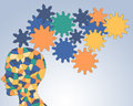 Gears rotate inside the brain teamwork power of Royalty Free Stock Image