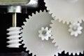 Gears rotating closeup circle of by motor Stock Photo