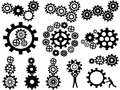 Gears set isolated black icon from white background Royalty Free Stock Image