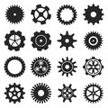 Gears shapes vector set.