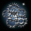Gears in space with north star Royalty Free Stock Photography