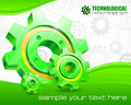 Gears on technical background and text mechanical illustration Royalty Free Stock Photo