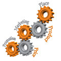 Gears with text promotion marketing price product and place on the white background Royalty Free Stock Images
