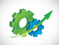 Gears and up arrows illustration design over a white background Royalty Free Stock Photography