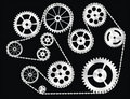 Gears Wrapped by a Chain Royalty Free Stock Image