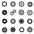 Gearwheel mechanism vector black icon set on white Royalty Free Stock Images