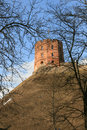 Gediminas castle in vilnius remaining tower of upper is the symbol of the city of lithuania europe spring time Stock Photos
