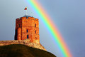Gediminas tower in Vilnius, Lithuania against rainbow in the sky Royalty Free Stock Photo