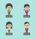 Geek cartoon character set theme art illustration Royalty Free Stock Photo