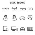 Geek icons mono vector symbols Stock Image