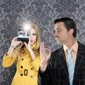 Geek mustache man reporter fashion girl Royalty Free Stock Photo