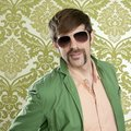 Geek retro salesperson man funny mustache Royalty Free Stock Photography