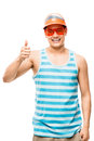 Geek student showing thumbs up young latin american cool Stock Photo