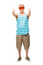Geek student showing thumbs up young latin american cool full length Royalty Free Stock Images