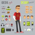 Geek style set design character with backpack computer keyboard web camera isolated vector illustration Stock Image