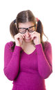 Geek teenager crying Stock Photography
