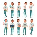 Geek Vector. Man. Isolated Flat Cartoon Character Illustration Royalty Free Stock Photo