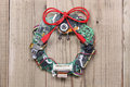 Geeky christmas wreath made by old computer parts Royalty Free Stock Photo