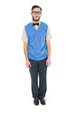 Geeky hipster wearing sweater vest on white background Royalty Free Stock Photos