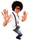 Geeky man having fun Stock Images