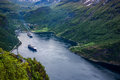 Geiranger fjord norway beautiful nature it is a kilometre mi long branch off of the sunnylvsfjorden which is a branch off of the Royalty Free Stock Image