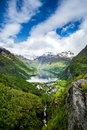Geiranger fjord norway beautiful nature it is a kilometre mi long branch off of the sunnylvsfjorden which is a branch off of the Stock Photo
