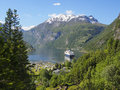 Geiranger fjord, Norway with cruise ship, mountains and village, forest Royalty Free Stock Photo