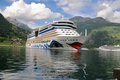 Geiranger, Norway. Cruise ship AIDA luna Stock Photos