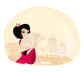 Geisha and abstract asian landscape illustration Stock Images