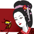 Geisha and Butterfly Stock Images