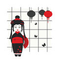 Geisha girl with fan Royalty Free Stock Image