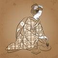 Geisha Japan classical Japanese woman ancient style of drawing. Geisha makes a tea