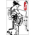 Geisha. Japanese Woman.Japanese banner. Vintage hand draw art Royalty Free Stock Photo