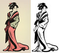 Geisha traditional japanese illustration in color and monochrome Stock Photo