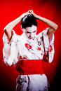 Geisha in traditional kimono Stock Photo