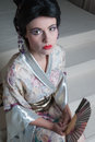 Geisha woman with traditional clothing Stock Photos