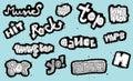 Gekritzeltes musical unterzeichnet sammlung schwarzweiss auf blauem hintergrund illustration ist im modus eps Stockfoto