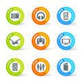Gel Media Icons (vector) Stock Photo