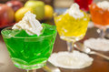 Gelatan desserts colorful gelatin lined up on a table ready to enjoy Stock Images